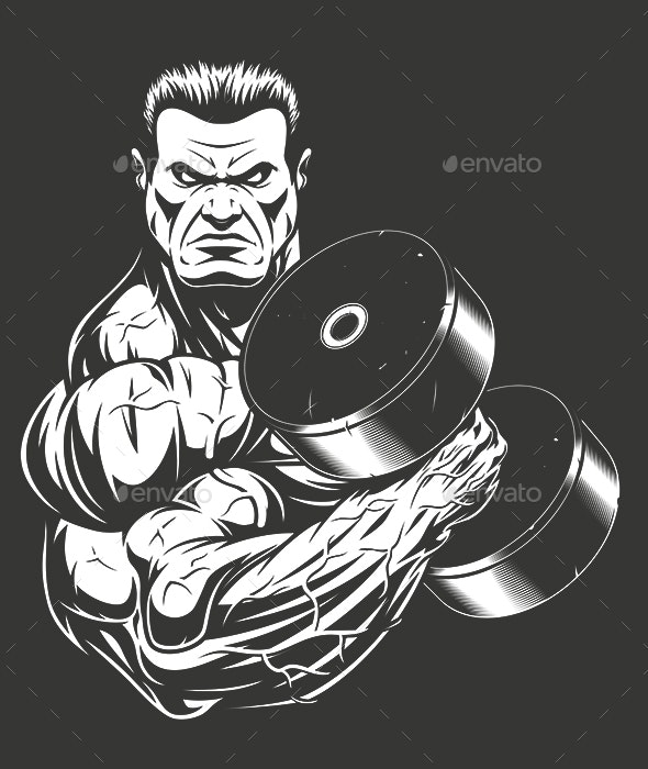 Bodybuilder with Dumbbell - People Characters