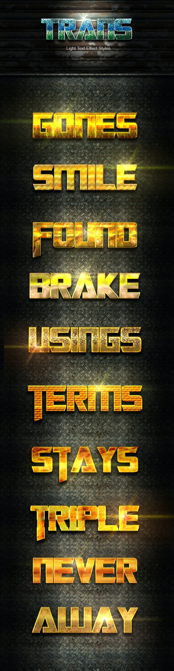 10 Photoshop Trans Gold Styles Effect Vol 41 - Text Effects Styles