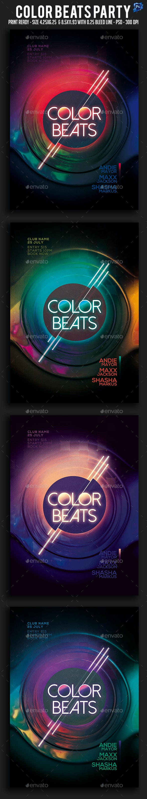 Color Beats Party Flyer - Clubs & Parties Events
