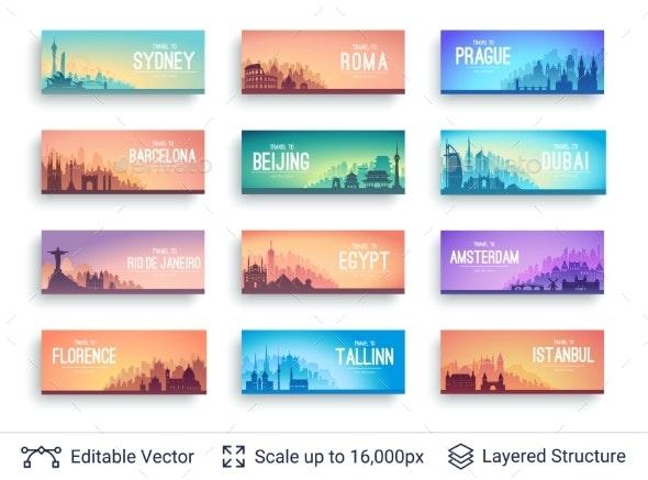 World Famous Cityscapes Set - Travel Conceptual