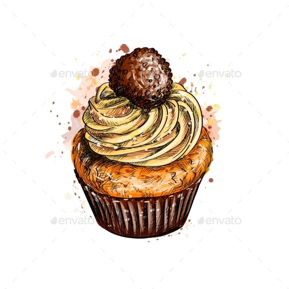 Cupcake with Cream - Food Objects