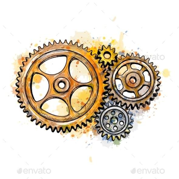Gears From a Splash of Watercolor