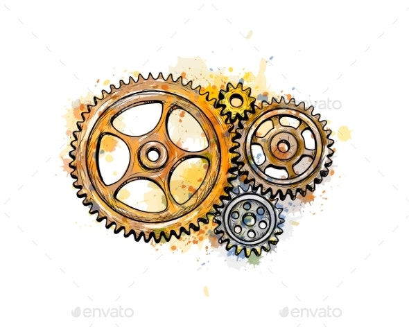 Gears From a Splash of Watercolor - Industries Business