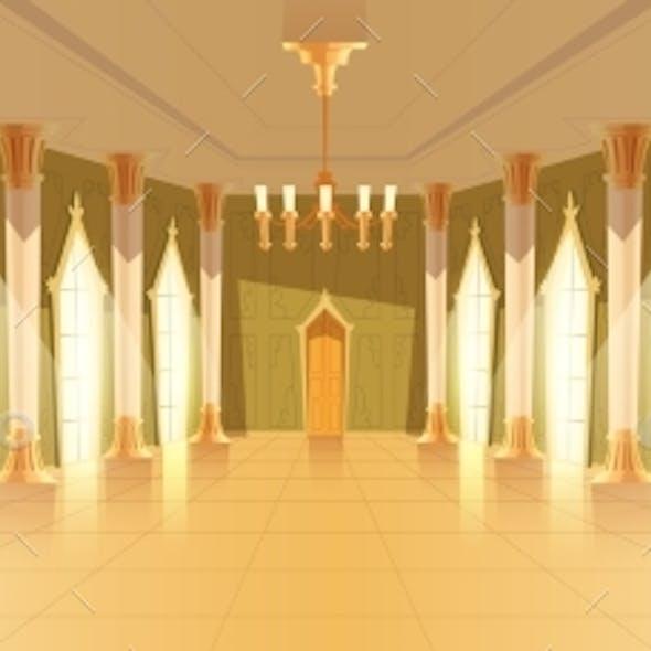 Ballroom Hall with Chandelier Vector Illustration
