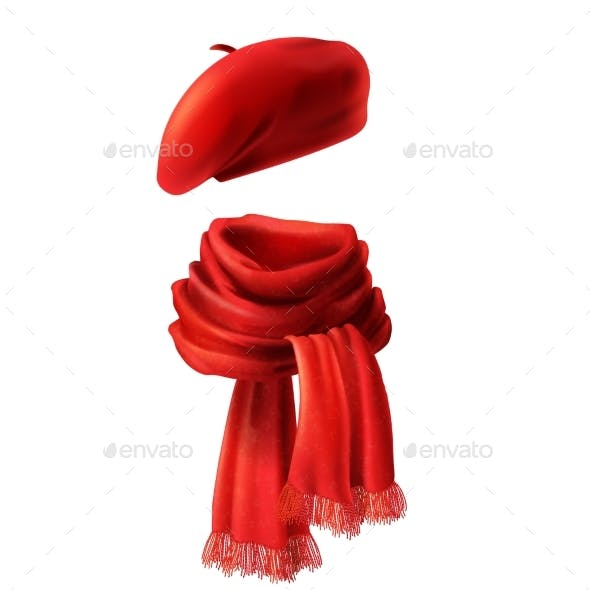 Vector Realistic Red Scarf and Beret