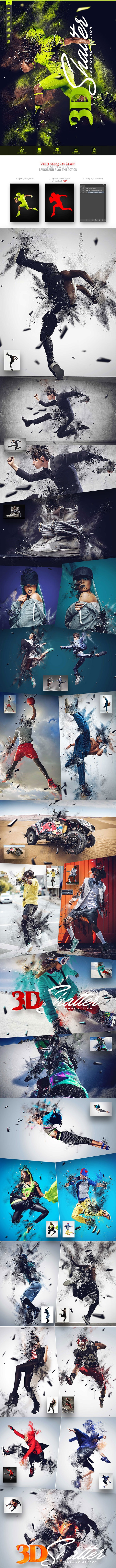 3D Shatter Photoshop Action CS5+ - Photo Effects Actions