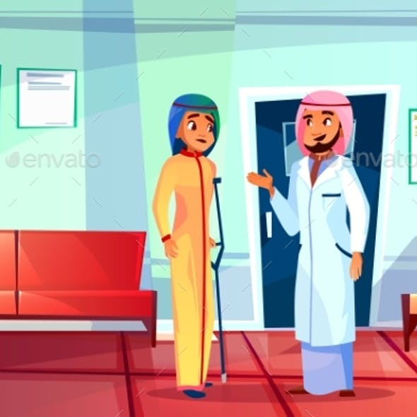Muslim Doctor and Patient Vector Illustration