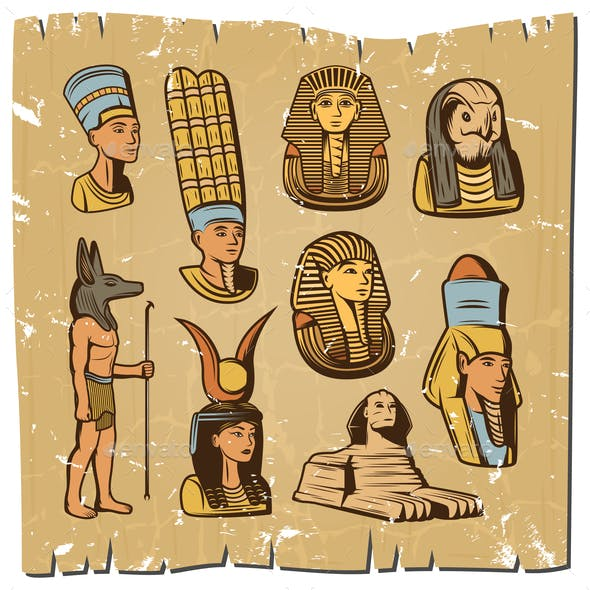Vintage Colored Ancient Egyptian Elements Collection