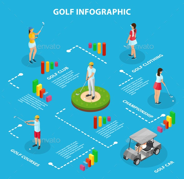 Isometric Golf Game Infographic Concept - Sports/Activity Conceptual