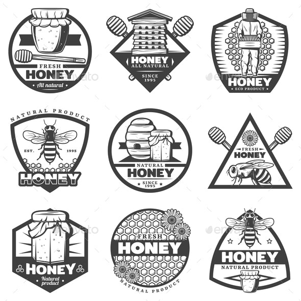 Vintage Monochrome Honey Labels Set - Food Objects
