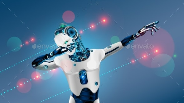 Robot or cyborg dabbing on party  Dab pose  Cybernetic man with AI dancing  in nightclub music