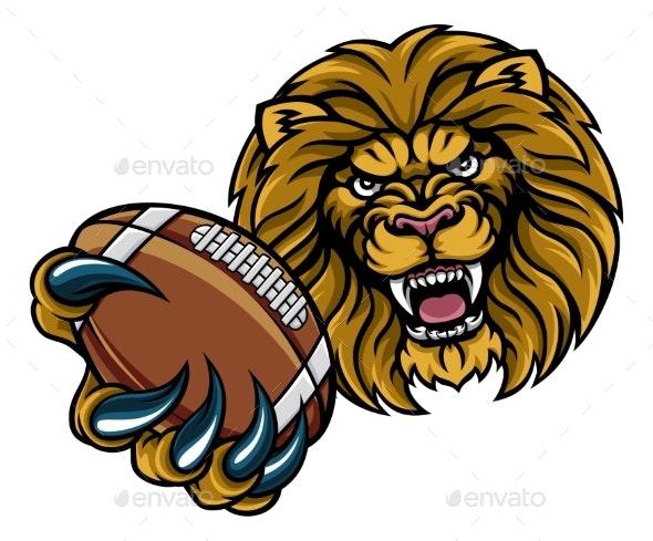 Lion American Football Ball Sports Mascot - Sports/Activity Conceptual