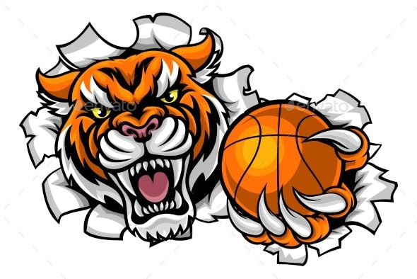 Tiger Holding Basketball Breaking Background - Sports/Activity Conceptual
