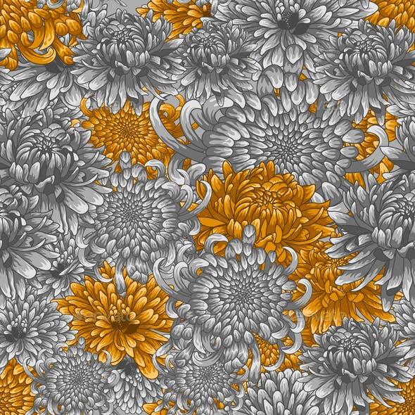 Seamless Pattern with Silver and Golden Chrysanthemums