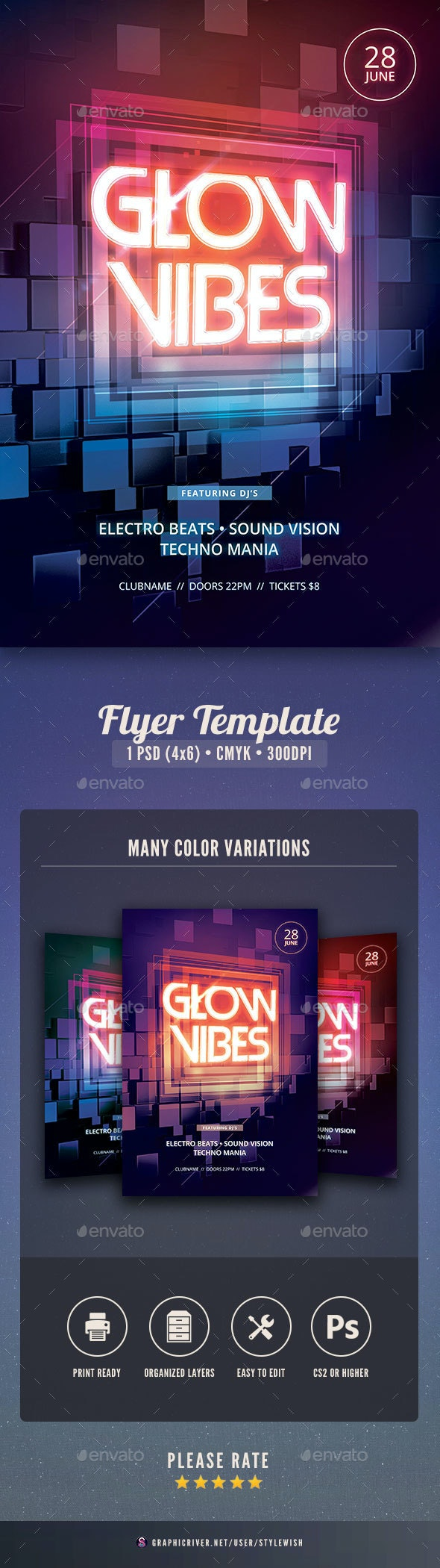 Glow Vibes Flyer - Clubs & Parties Events