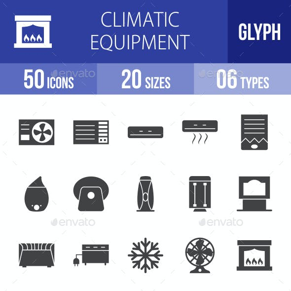 Climatic Equipment Glyph Icons