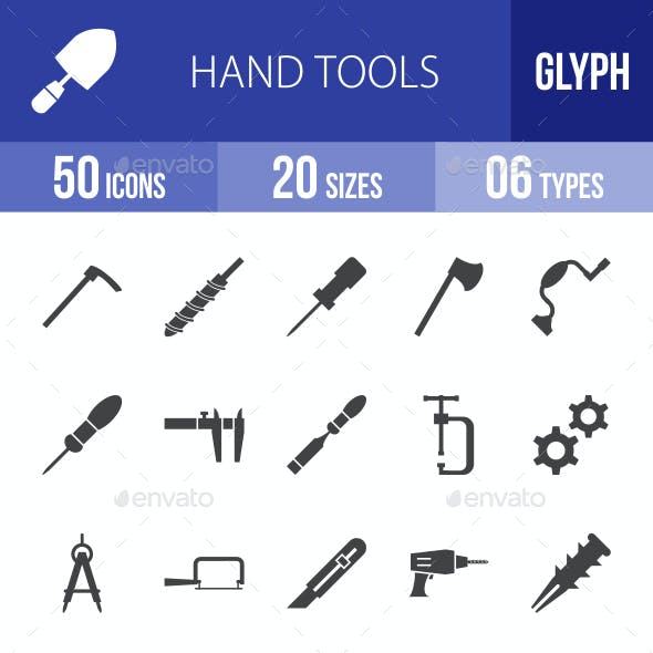 Hand Tools Glyph Icons