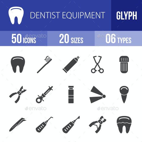 Dentist Equipment Glyph Icons