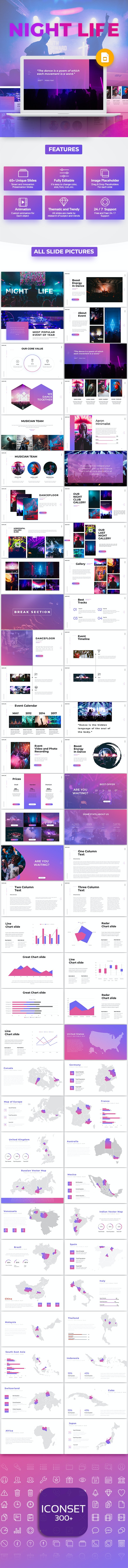 Night Life - Club Google Slide Template - Google Slides Presentation Templates