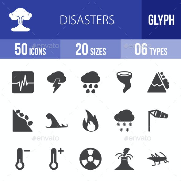 Disasters Glyph Icons