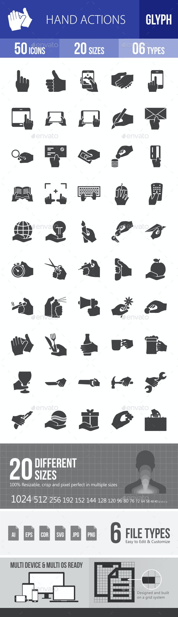 Hand Actions Glyph Icons - Icons
