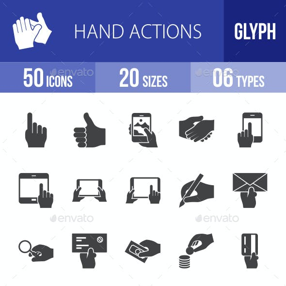 Hand Actions Glyph Icons