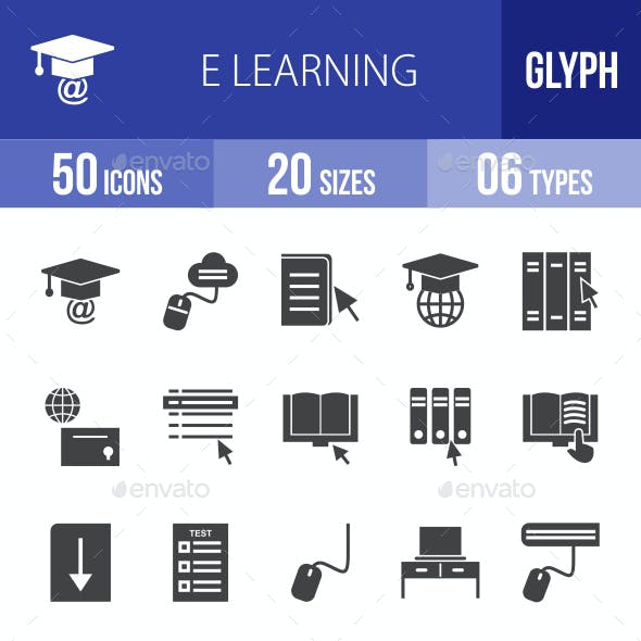 E Learning Glyph Icons