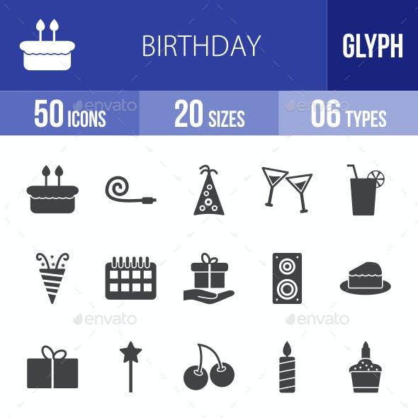 Birthday Glyph Icons