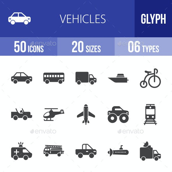 Vehicles Glyph Icons