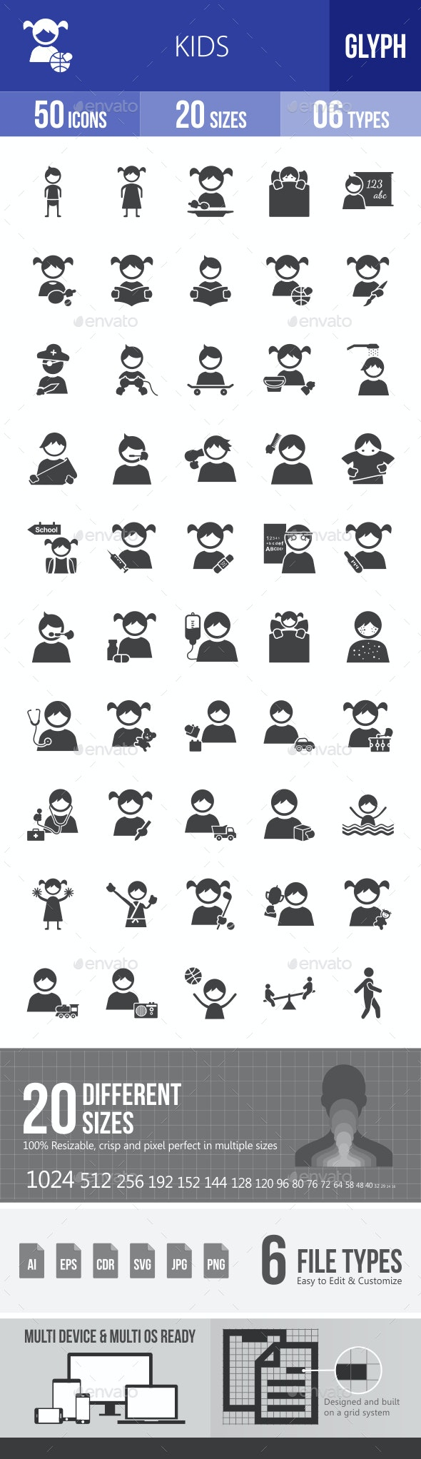 Kids Glyph Icons - Icons