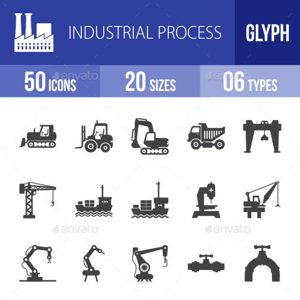 Industrial Process Glyph Icons