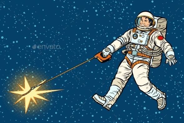 Astronaut Walks a Star Like a Dog - People Characters