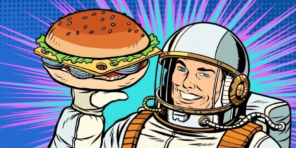 Smiling Male Astronaut Presents Burger - Food Objects