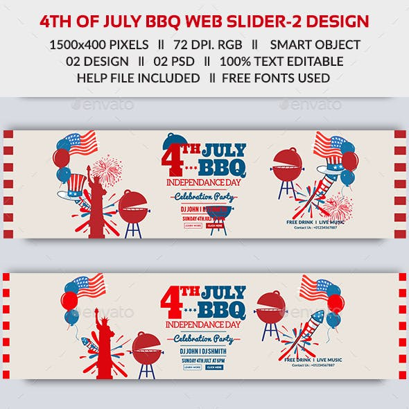 4th of July BBQ Web Slider-2 Design- Image Included