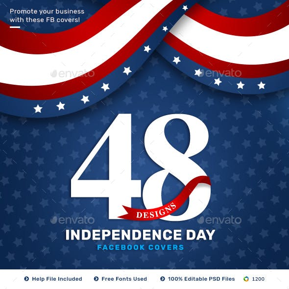 Independence Day Facebook Cover Templates - 48 Designs