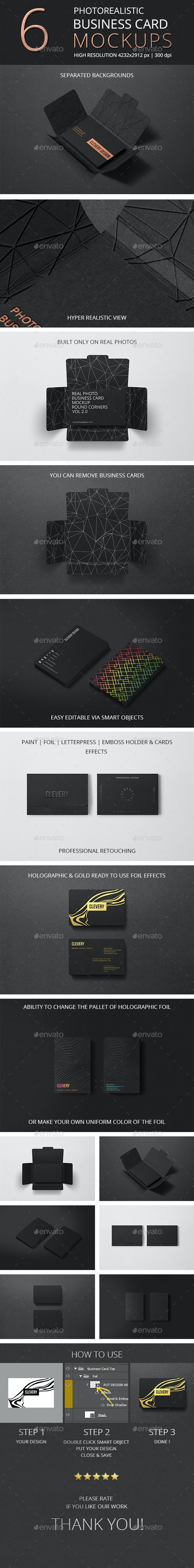 Photorealistic Business Card Mockup Round Corners Vol 2.0 - Business Cards Print