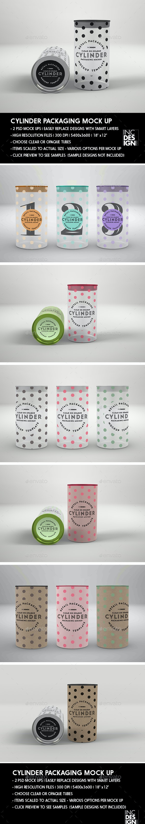 Clear or Opaque Cylinder Packaging Mockup - Miscellaneous Packaging