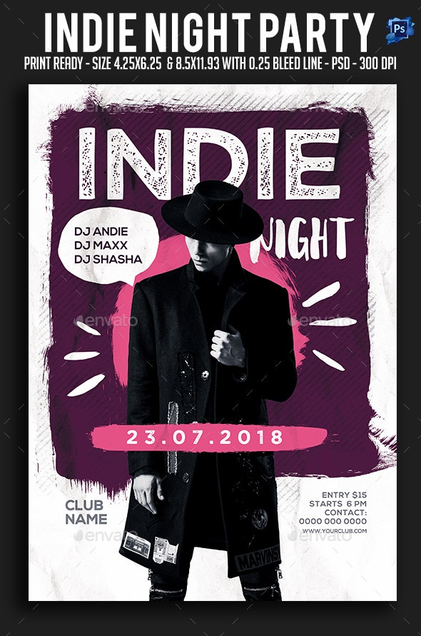 Indie Night Party Flyer - Clubs & Parties Events