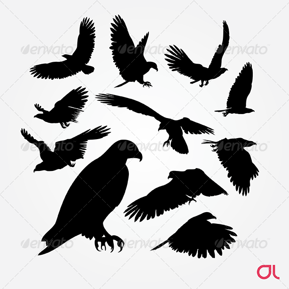 Birds: Eagle Silhouette Vector Set - Animals Characters