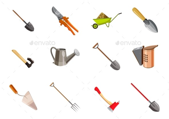 Garden Tools Icon Set - Flowers & Plants Nature