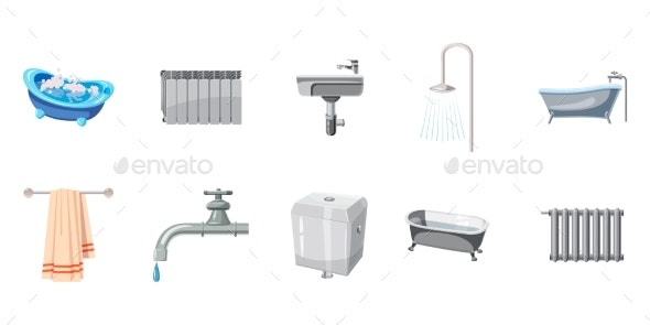 Bathroom Icon Set - Man-made Objects Objects