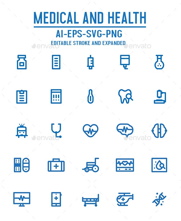 Medical and Health Outline Icon Set - Miscellaneous Icons
