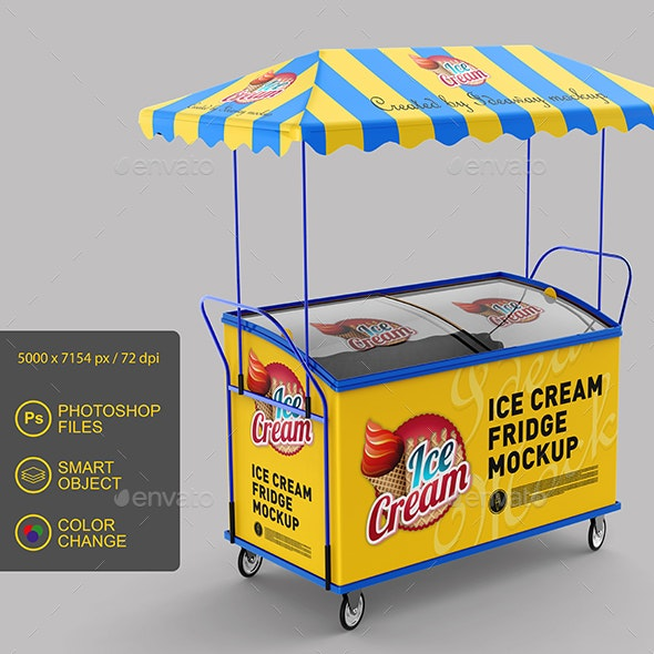 Ice Cream Fridge Mockup - Miscellaneous Packaging