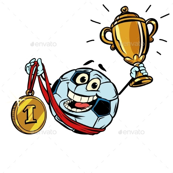 First Place Gold Medal Soccer Ball Character - Sports/Activity Conceptual