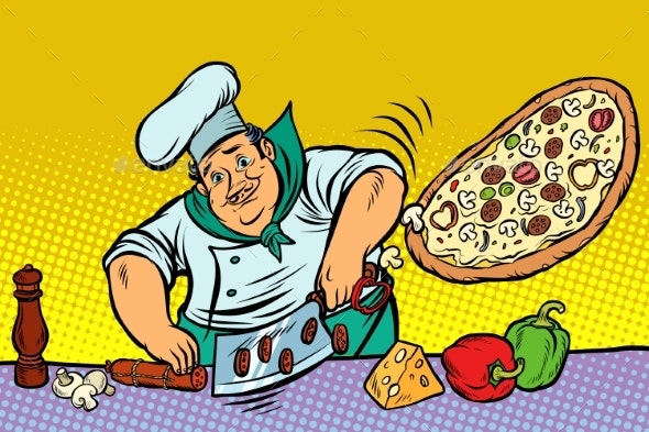 Chef Cooking Pizza - Food Objects