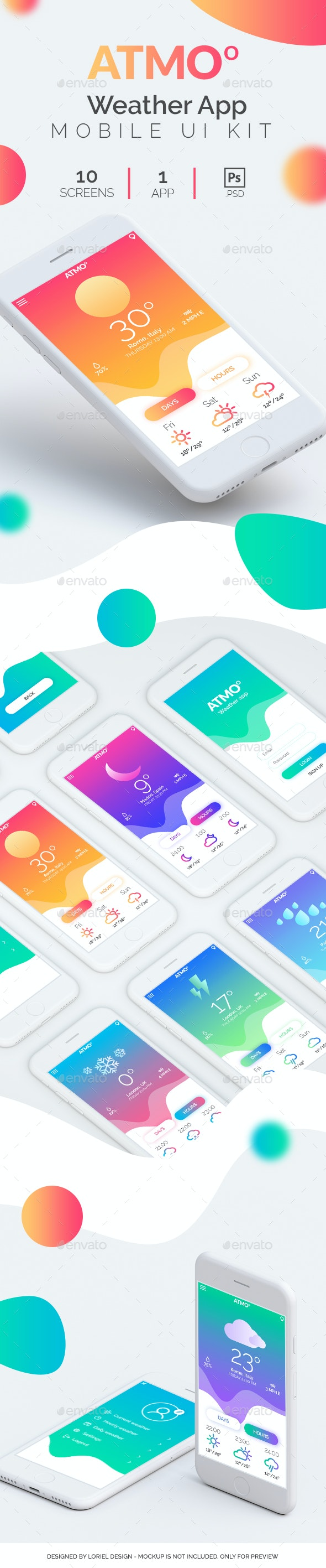 Atmo - Mobile Weather App Ui kit - User Interfaces Web Elements