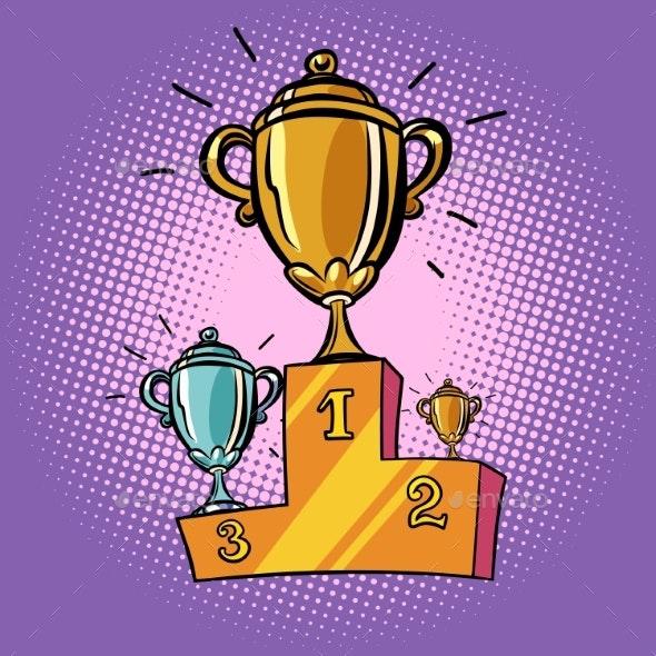 Cups Winner, First Second Third Place Pedestal - Sports/Activity Conceptual