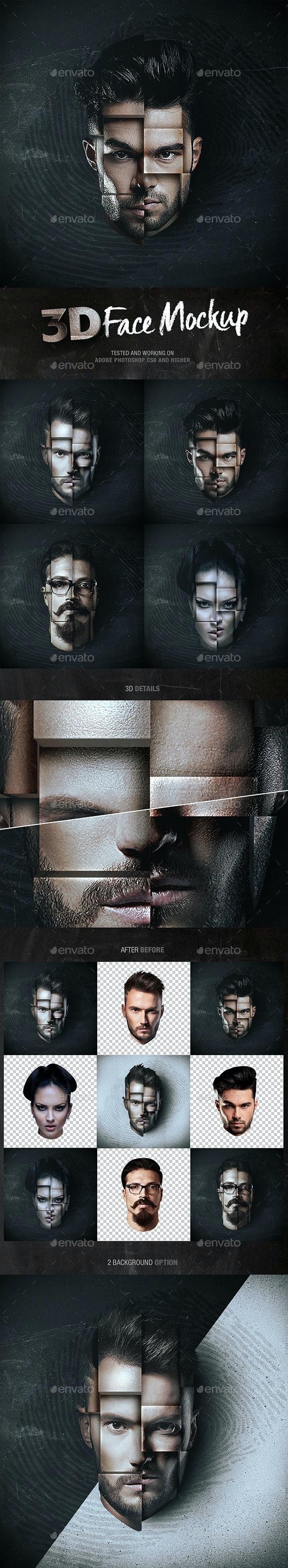 3D Face Mockup - Miscellaneous Photo Templates