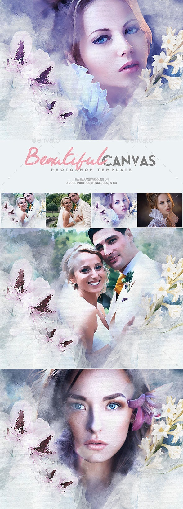 Beautiful Canvas Photoshop Template - Artistic Photo Templates
