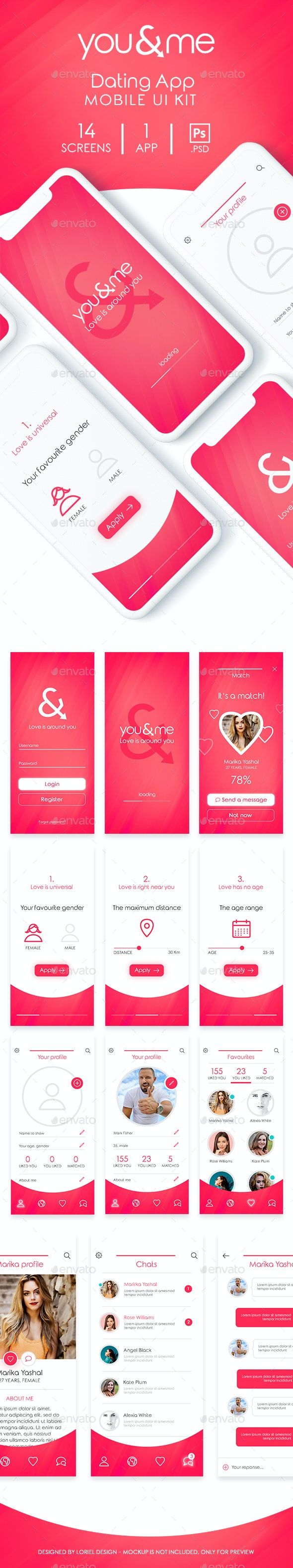 You&Me - Mobile Dating App Ui kit - User Interfaces Web Elements